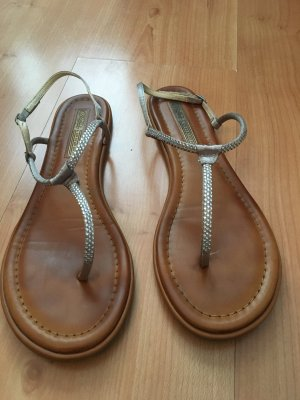 Sandalen Buffalo Silber Glitzer echtleder