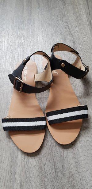 Sandalias de tiras blanco-negro