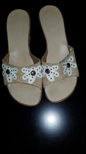 Sandalias de tacón con plataforma blanco-beige