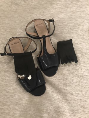 Sandalen dunkelblau gr 40 Leder lack  tipe Tacchi