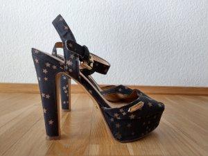 Sandalen dunkelblau mit Goldsternen