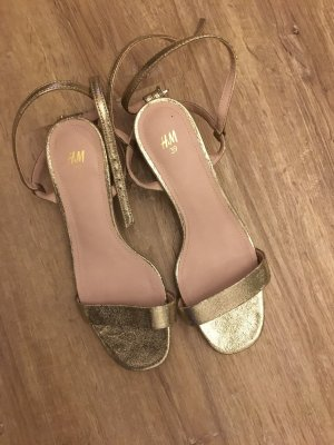 H&M Strapped High-Heeled Sandals gold-colored-oatmeal