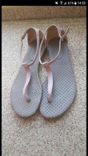 Escada High-Heeled Toe-Post Sandals multicolored leather