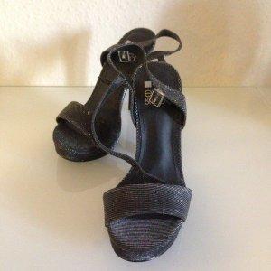 Even & Odd Sandalen met bandjes en hoge hakken zwart-lichtgrijs Gemengd weefsel