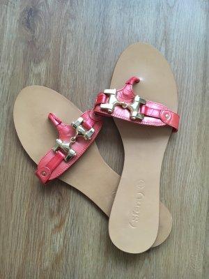 Sandalen flip flop 40 rot Gold shiny
