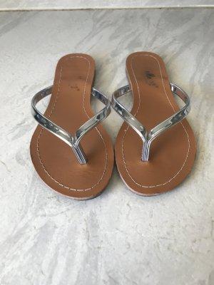 Sandalen Flip Flops Silber Metallic