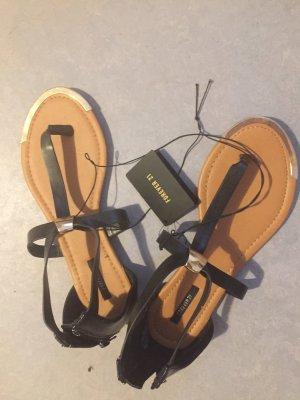 Forever 21 Sandalias cómodas negro-color bronce