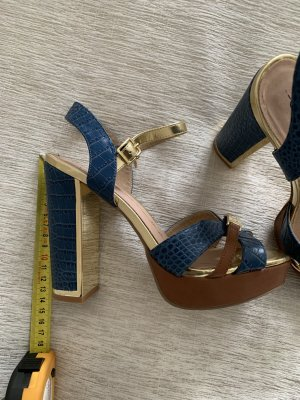 Gaudi Sandalias de tiras color oro-azul