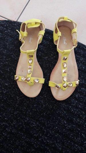 Sandalen gelb mit Steinen