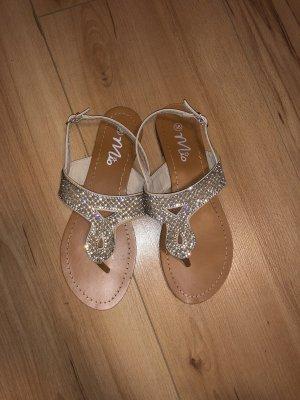 Sandalo con cinturino argento-color carne