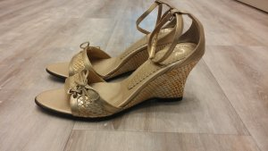 Wedge Sandals sand brown-gold-colored imitation leather