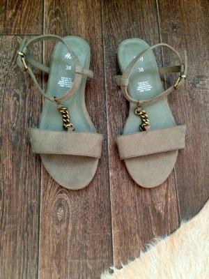 Sandalen, Gold, Khaki, Kette, H&M, NEU!