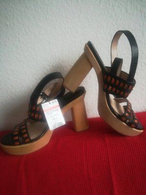 Mango Platform High-Heeled Sandal black-dark orange