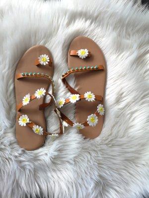 Boohoo Platform High-Heeled Sandal white-brown