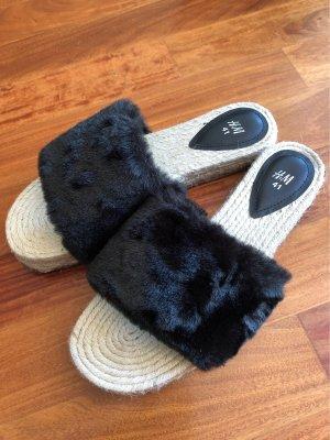 H&M Platform High-Heeled Sandal oatmeal-black