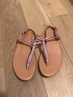 H&M Sandalias con talón descubierto color rosa dorado