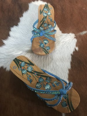 Strapped Sandals light brown-blue