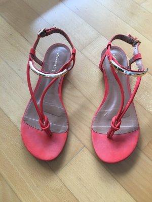 Sandalen in Orange-Rot, Leder