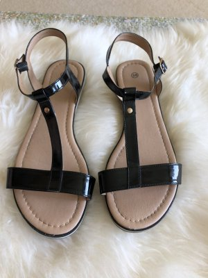 Sandalen in schwarz-beige