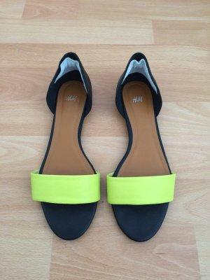 Sandalen in schwarz/lime von H&M | Gr. 38