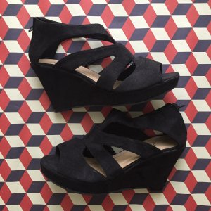 Wedge Sandals black mixture fibre