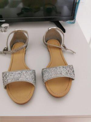 T-Strap Sandals silver-colored