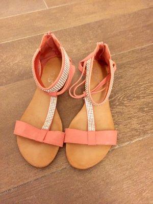 Sandalen lachsfarben mit Steinen Silber Keilabsatz flach Knöchelhoch Hochzeit