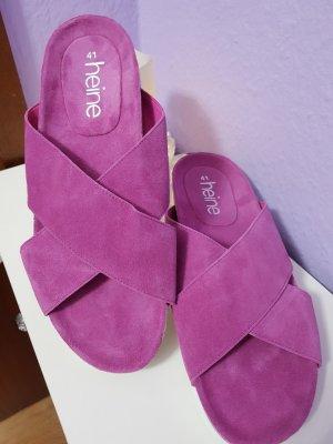 Heine Sandalias cómodas violeta Cuero