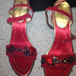 Comfort Sandals red-black leather
