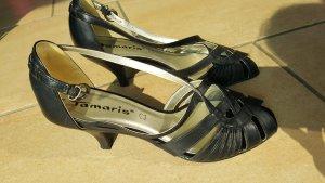 Sandalen Leder Tamaris schwarz Riemchen 38,5