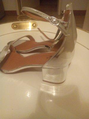 sandalen Metallic trendteil blockabsatz
