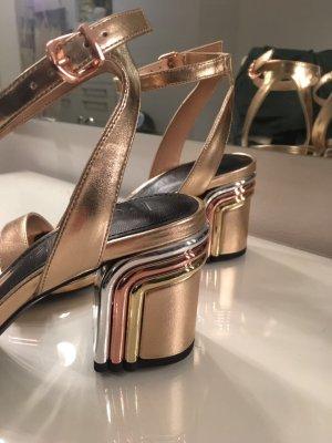 Sandalen mit Absatz Gold Roségold