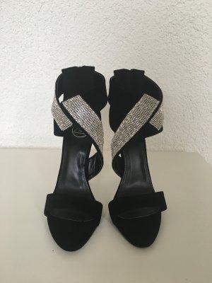 Sandalen mit Absatz mit Glitzer Ungetragen