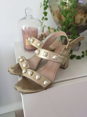 H&M High-Heeled Sandals gold-colored-white