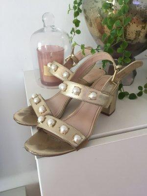 Sandalen mit Blockabsatz Gr 39 Gold mit Perlen