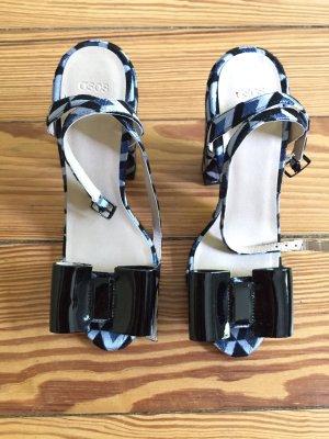 Sandalen mit Blockabsatz High Heels ASOS Schleife blau schwarz  - 38