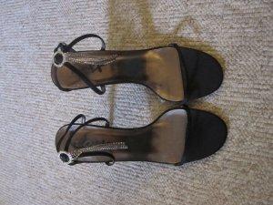 Sandaletto con tacco alto nero-argento