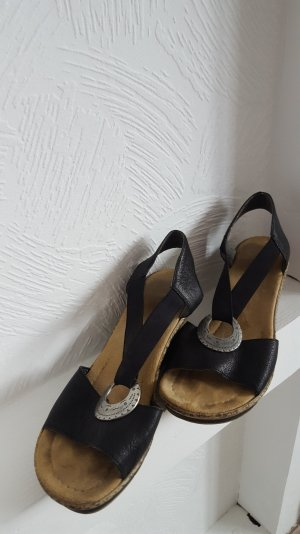Sandalen mit Keilabsatz Rieker Gr. 40 Leder