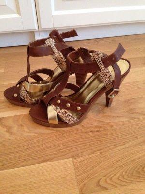 Sandalen mit Riemchen und Holzabsatz, Gr. 41