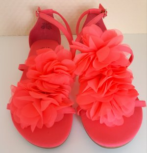 H&M Strapped High-Heeled Sandals bright red-neon pink