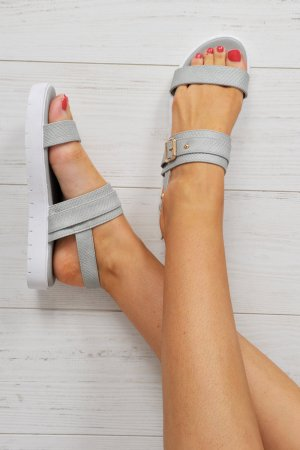 High-Heeled Sandals grey-white imitation leather