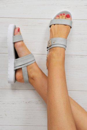 High-Heeled Sandals grey-white imitation leather