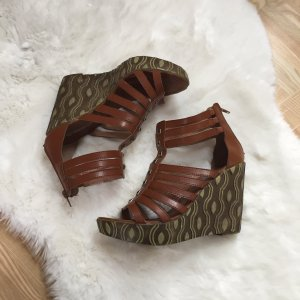 Queentina Wedge Sandals brown-ocher