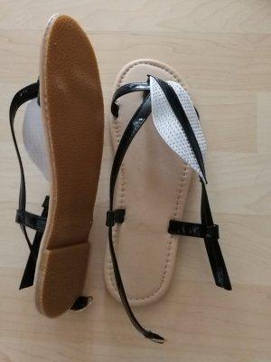 Toe-Post sandals white-black