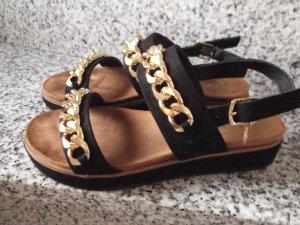 Sandalen Modern Kunst Leder mit Gold  Farbene Kette