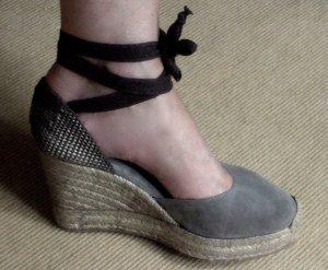 Sandalen *neu* Sandaletten MER DU SUD 41 khaki Espadrilles Keilsandalette Weges