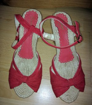 Gaimo Espadrilles Platform Sandals dark red leather