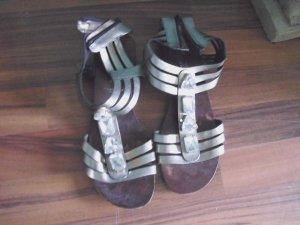 sandalen new look größe 39 glitzersteine metallic