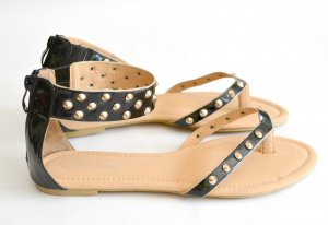 Sandalen Nieten Schwarz Sommer 41 Lackleder Fashion Schuhe Riemchen