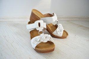 Sandalen Pantoletten Sahara Blumen Floral Silber Metallic Keilabsatz Preppy